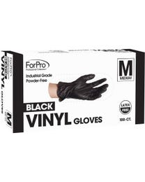 ForPro Black Powder-Free Vinyl Gloves Medium 1000-Count (Case of 10 – 100 Vinyl Gloves)
