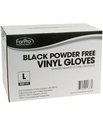 ForPro Black Powder-Free Vinyl Gloves Large 1000-Count (Case of 10 – 100 Vinyl Gloves)