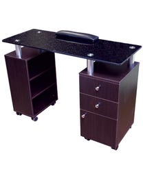 Manicure Table Walnut with Glass Top