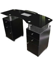 Glass Top Nail Table w/Fan Black