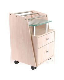 Pedi Cart with Glass Top Maple