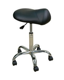 Stool Prem w/Saddle Blk Base 22-29H