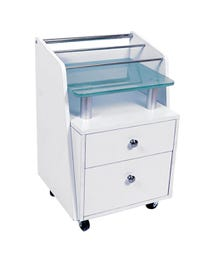 Glass Top Trolley White